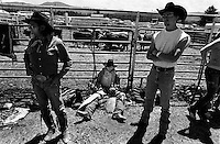 Cowboys get ready for the bullriding competition at the annual Lincoln Rodeo in Lincoln, MT in June 2006.  The Lincoln Rodeo is an open rodeo, which means competitors need not be a member of a professional rodeo association.