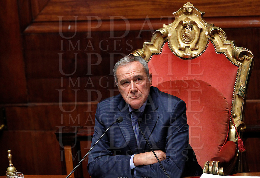 Il Presidente del Senato Pietro Grasso durante una seduta in aula, Roma, 5 novembre 2013.<br /> Italian Senate President Pietro Grasso attends a plenary session at the Senate, Rome, 5 November 2013.<br /> UPDATE IMAGES PRESS/Isabella Bonotto