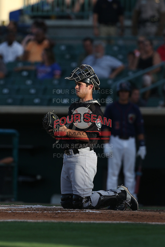 Daniel Torres (20) of the Bakersfield Blaze in the field at catcher during a game against the Lancaster JetHawks at The Hanger on August 5, 2015 in Lancaster, California. Bakersfield defeated Lancaster, 12-5. (Larry Goren/Four Seam Images)