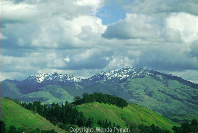 A rare spring snowfall covers Mt. Diablo and North Peak.