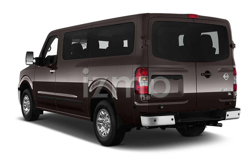 Car pictures of rear three quarter view of a 2019 Nissan NV Passenger SL 4 Door Passenger Van angular rear
