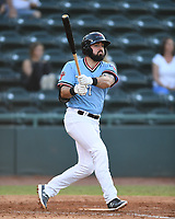 Hickory Crawdads Tanner Gardner (27) bats during a game with the Asheville Tourists at L.P. Frans Stadium on May 8, 2019 in Hickory, North Carolina. The Tourists defeated the Crawdads 7-6. (Tracy Proffitt/Four Seam Images)