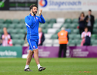 Lincoln City manager Danny Cowley applauds the fans at the final whistle<br /> <br /> Photographer Chris Vaughan/CameraSport<br /> <br /> The EFL Sky Bet League Two Play Off First Leg - Lincoln City v Exeter City - Saturday 12th May 2018 - Sincil Bank - Lincoln<br /> <br /> World Copyright &copy; 2018 CameraSport. All rights reserved. 43 Linden Ave. Countesthorpe. Leicester. England. LE8 5PG - Tel: +44 (0) 116 277 4147 - admin@camerasport.com - www.camerasport.com
