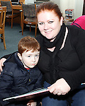 Karen Morris and Larry Graham at Storytime in Drogheda Library as part of World Book Day....Photo NEWSFILE/Jenny Matthews.