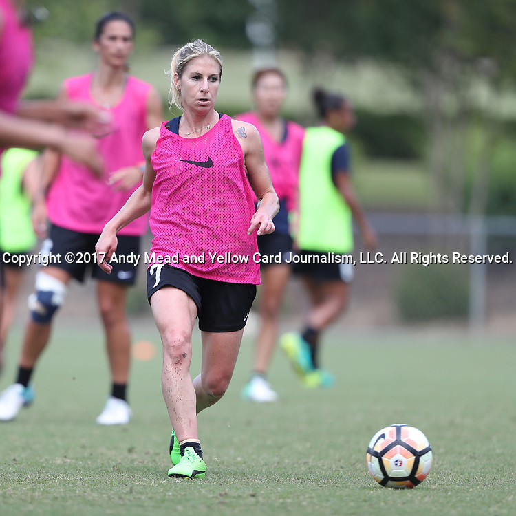 CARY, NC - MAY 10: McCall Zerboni. The North Carolina Courage held a training session on May 10, 2017, at WakeMed Soccer Park Field 7 in Cary, NC.