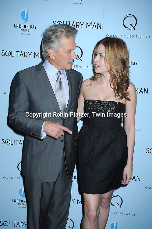 "Michael Douglas  and Jenna Fischer attending  The New York Premiere of ""Solitary Man"" starring Michael Douglas, Jenna Fischer, Imogen Poots at Cinema 2 on May 11, 2010 in New York City."