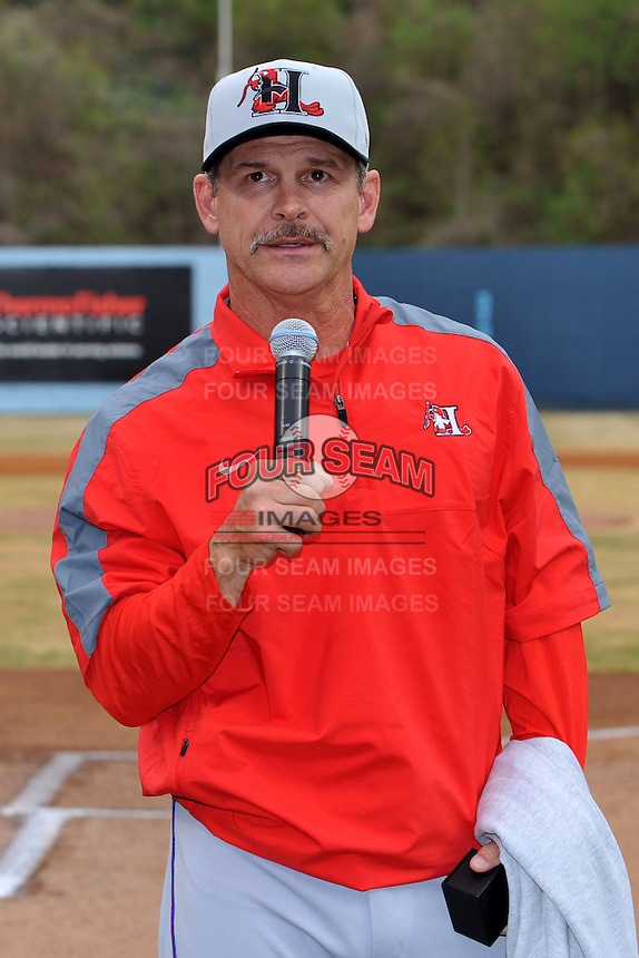 Former Asheville Tourists manager and current Texas Rangers roving instructor Joe Mikulik addresses the crowd before a game between the Hickory Crawdads and the Asheville Tourists at McCormick Field on April 17, 2013 in Asheville, North Carolina. The Crawdads won the game 6-5. (Tony Farlow/Four Seam Images).