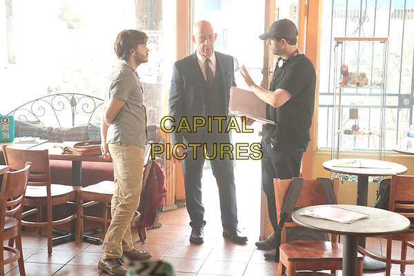 All Nighter (2017) <br /> Behind the scenes photo of Emile Hirsch, J.K. Simmons &amp; Gavin Wiesen<br /> *Filmstill - Editorial Use Only*<br /> CAP/KFS<br /> Image supplied by Capital Pictures
