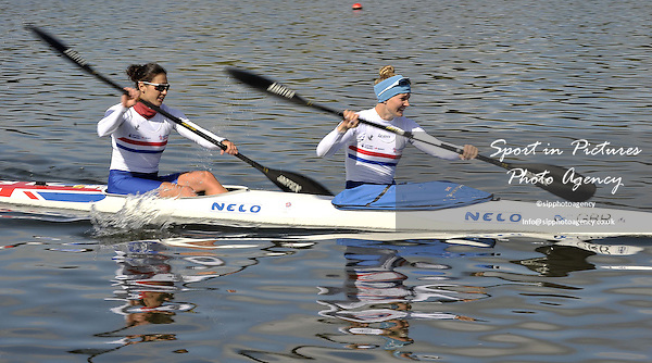 Lani Belcher and Angela Hannah. Womens K2 500m Final. Day 2. British Canoeing Sprint Olympic trials. National Water Sports Centre. Holme Pierrepont. Nottingham. UK. 18/04/2016. ~ MANDATORY Credit Garry Bowden/Sportinpictures - NO UNAUTHORISED USE - 07837 394578