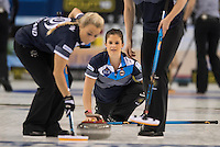 Glasgow. SCOTLAND.   Scotland's, Anna SLOAN, watching the path of her &quot;Stone&quot;, during  the &quot;Round Robin&quot; Game.  Scotland vs Russia,  Le Gruy&egrave;re European Curling Championships. 2016 Venue, Braehead  Scotland<br /> Thursday  24/11/2016<br /> <br /> [Mandatory Credit; Peter Spurrier/Intersport-images]