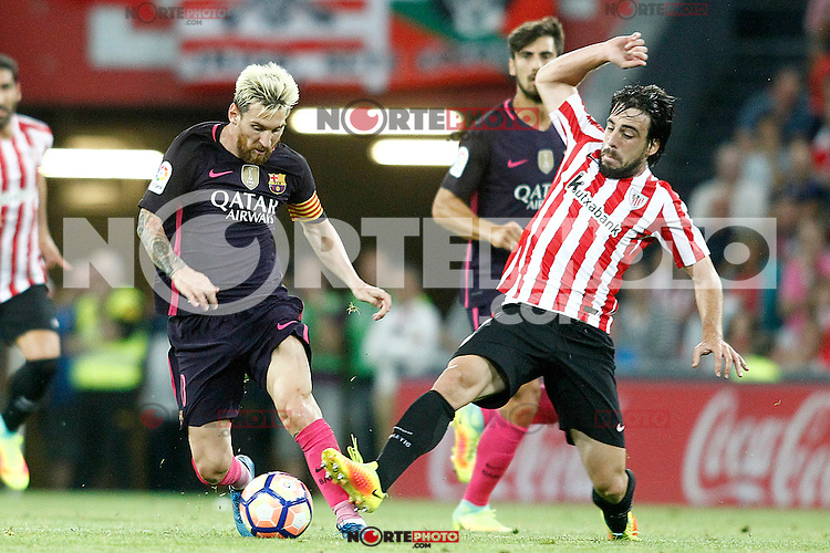 Athletic de Bilbao's Benat Etxebarria (r) and FC Barcelona's Leo Messi during La Liga match. August 28,2016. (ALTERPHOTOS/Acero) /NORTEPHOTO