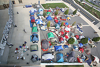 "State College, PA - 9/5/2007:  Students camp outside the gates of Beaver Stadium to form ""Paternoville"" and as they hope to secure front-row seats to the football game against Notre Dame this Saturday.  Photo:  Joe Rokita / JoeRokita.com..Photo ©2007 Joe Rokita Photography"