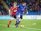 31st October 2017, Cardiff City Stadium, Cardiff, Wales; EFL Championship football, Cardiff City versus Ipswich Town; Lee Tomlin of Cardiff City controls the ball on the edge of the box with Flynn Downes of Ipswich Town putting on pressure from behind