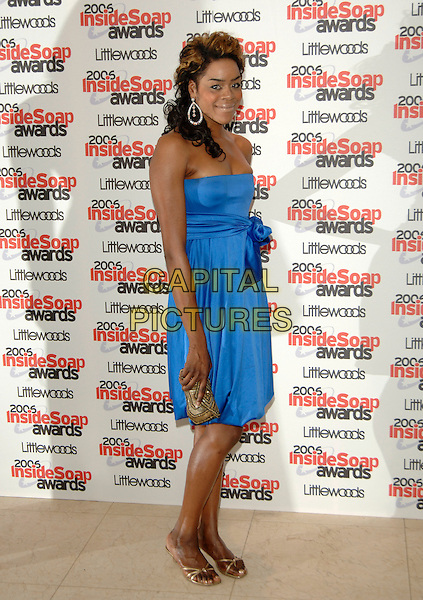 ANTONIA OKONMA.Inside Soap Awards 2006, Floridita,.London, England, September 25th 2006..full length blue dress strapless hand on hip.Ref: PL.www.capitalpictures.com.sales@capitalpictures.com.©Phil Loftus/Capital Pictures