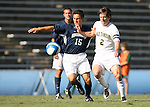 2 September 2007: Monmouth's Drew Von Bargen (15) and Wake Forest's Sam Cronin (2). The Wake Forest University Demon Deacons defeated the Monmouth University Hawks 2-0 at Fetzer Field in Chapel Hill, North Carolina in an NCAA Division I Men's Soccer game.