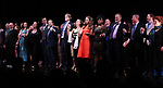 Francis Jue, Megan McGinnis, Harriet Harris, Gavin Creel, Rob Ashford, Dick Scanlan, Jeanine Tesori, Sutton Foster, Sheryl Lee Ralph, Marc Kudisch, Darren Lee and Anne L. Nathan during the curtain Call bows for the Actors Fund's 15th Anniversary Reunion Concert of 'Thoroughly Modern Millie' on February 18, 2018 at the Minskoff Theatre in New York City.