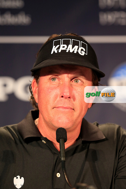 Open Champion Phil Mickelson (USA) in the interview room during Tuesday's Practice Day of the 95th US PGA Championship 2013 held at Oak Hills Country Club, Rochester, New York.<br /> 6th August 2013.<br /> Picture: Eoin Clarke www.golffile.ie