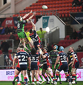 23rd March 2018, Ashton Gate, Bristol, England; RFU Rugby Championship, Bristol versus Yorkshire Carnegie; Richard Beck of Yorkshire Carnegie collects the lineout ball under pressure from Nick Haining of Bristol