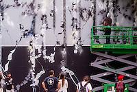 New York, NY 12 September 2015 -  Crowd watches Futura (aka Lenny McGurr, Futura 2000) workon a new mural at the Bowery Mural