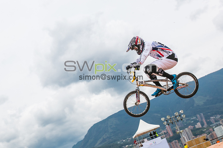 Picture by Alex Whitehead/SWpix.com - 28/05/2016 - Cycling - 2016 UCI BMX World Championships - Mariana Pajon BMX Track, Medellin, Colombia - Great Britain's Kyle Evans in action during the Men's Elite practice session.