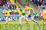 Kerry's Kevin Shanhan pulls away from Clare's Eoin Hanrahan at Austin Stack park, Tralee on Saturday.