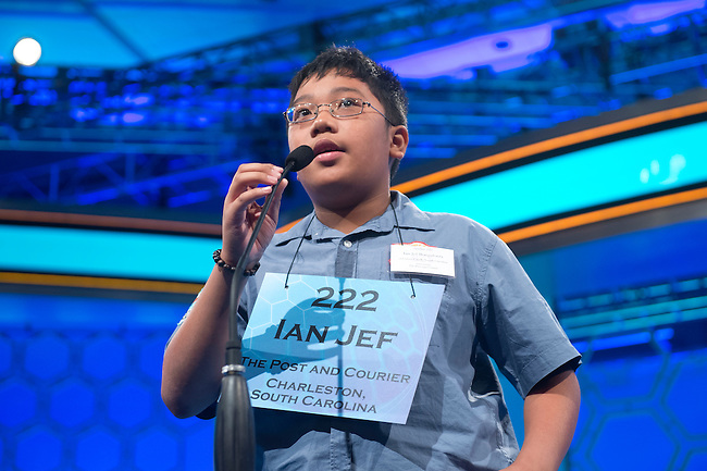 Speller 222 Ian Jef Aquino Bongalonta competes in the preliminary rounds of the Scripps National Spelling Bee at the Gaylord National Resort and Convention Center in National Habor, Md., on Wednesday,  May 30, 2012. Photo by Bill Clark