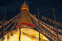Nepal, Kathmnadu. Boudhanath, Tibetan stupa at night.