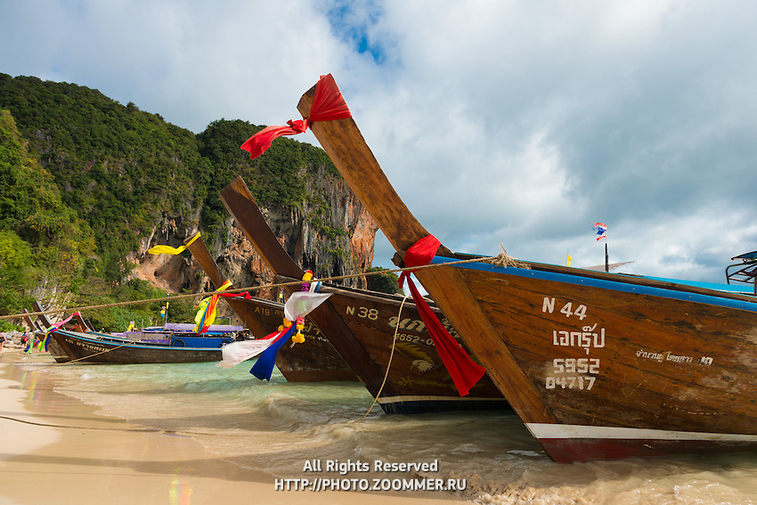 Longtail Boats On Phra Nang Beach in Krabi, Thailand