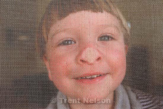 Noah Nelson at the screen door.<br />