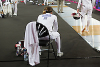 12 AUG 2012 - LONDON, GBR - Evdokia Grechishnikova (RUS) of Russia watches team mate Ekaterina Khuraskina during the women's London 2012 Olympic Games Modern Pentathlon fencing at The Copper Box in the Olympic Park, in Stratford, London, Great Britain (PHOTO (C) 2012 NIGEL FARROW)