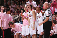 16 February 2008: Stanford Cardinal (L-R) Michelle Harrison, Melanie Murphy, Ashley Cimino, Cissy Pierce, Morgan Clyburn, and Candice Wiggins during Stanford's 79-57 win against the Arizona State Sun Devils at Maples Pavilion in Stanford, CA.