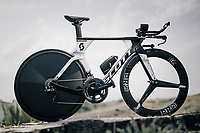 2017 TT World Champion Annemiek van Vleuten's (NED/Mitchelton-Scott) costumized Scott Plasma TT bike<br /> <br /> Mitchelton-Scott Women's team training camp in Oliva (Alicante) /Spain, may 2018<br /> &copy;kramon