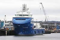 General view of Aberdeen harbour with Oil Supply ship Brage Supplier docked at Albert Quay..