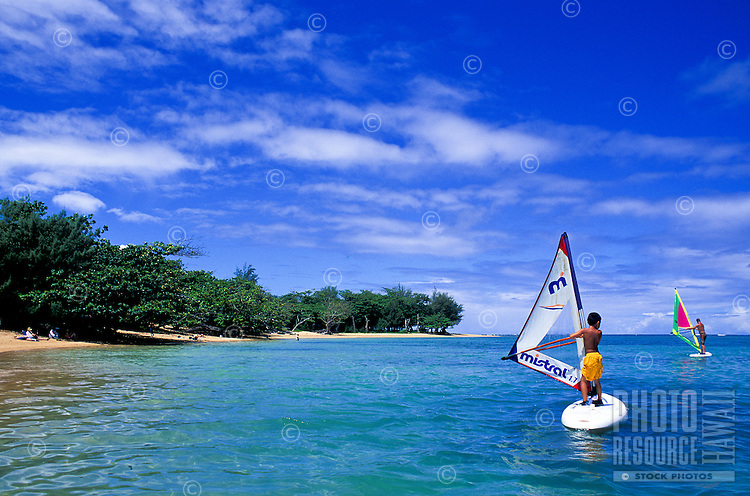 Beginner windsurfers have a breezy time at Anini Beach