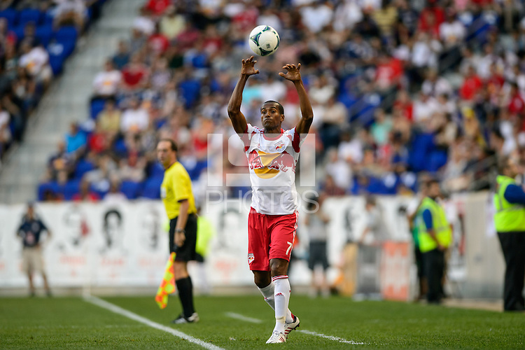 Roy Miller (7) of the New York Red Bulls on a throw in. The New York Red Bulls defeated Real Salt Lake 4-3 during a Major League Soccer (MLS) match at Red Bull Arena in Harrison, NJ, on July 27, 2013.