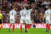 Daniel Sturridge (Liverpool) of England (9) celebrates scoring the opening goal during the FIFA World Cup qualifying match between England and Malta at Wembley Stadium, London, England on 8 October 2016. Photo by David Horn / PRiME Media Images.