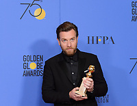 After winning the category of BEST PERFORMANCE BY AN ACTOR IN A LIMITED SERIES OR A MOTION PICTURE MADE FOR TELEVISION for his role in &quot;Fargo,&quot; actor Ewan McGregor poses backstage in the press room with his Golden Globe Award at the 75th Annual Golden Globe Awards at the Beverly Hilton in Beverly Hills, CA on Sunday, January 7, 2018.<br /> *Editorial Use Only*<br /> CAP/PLF/HFPA<br /> &copy;HFPA/PLF/Capital Pictures