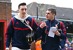 Arsenal's Mesut Ozil and Lucas Torreira arrive ahead the Premier League match at Selhurst Park, London. Picture date: 11th January 2020. Picture credit should read: Paul Terry/Sportimage