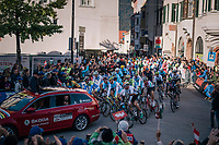 the race start<br /> <br /> MEN ELITE ROAD RACE<br /> Kufstein to Innsbruck: 258.5 km<br /> <br /> UCI 2018 Road World Championships<br /> Innsbruck - Tirol / Austria