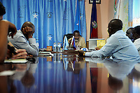 Mogadishu/Somalia 2012 - Mayor Tarzan at a meeting in the town-hall where he is meeting up with local buissenessmen who lost their shops when a fire destroyed the marked. Now they are asking help to rebuild their shops.