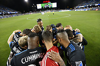 San Jose, CA - Saturday October 06, 2018: San Jose Earthquakes huddle prior to a Major League Soccer (MLS) match between the San Jose Earthquakes and the New York Red Bulls at Avaya Stadium.