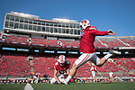 Wisconsin Badgers kicker Rafael Gaglianone (27) warms up prior to an NCAA Big Ten Conference football game against the Maryland Terrapins Saturday, October 21, 2017, in Madison, Wis. The Badgers won 38-13. (Photo by David Stluka)