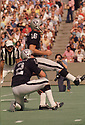 Oakland Raiders George Blanda (16) during a game from his 1973 season with the Oakland Raiders. Blanda played for 26 years, with 4 different teams was a 4-time Pro Bowler, and was inducted to the Pro Football Hall of Fame in 1981.(SportPics)