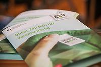 """Entwicklungshilfe Minister Gerd Mueller (CSU) stellte am Montag den 9. September 2019 in Berlin das Fair-Siegel """"Gruener Punkt"""" vor.<br /> Unterstuetzt wird die Kampagne u.a. von der ev. Kirche Deutschland, Tschibo und dem Bekleidungsunternehmen VAUDE.<br /> Im Bild: <br /> 9.9.2019, Berlin<br /> Copyright: Christian-Ditsch.de<br /> [Inhaltsveraendernde Manipulation des Fotos nur nach ausdruecklicher Genehmigung des Fotografen. Vereinbarungen ueber Abtretung von Persoenlichkeitsrechten/Model Release der abgebildeten Person/Personen liegen nicht vor. NO MODEL RELEASE! Nur fuer Redaktionelle Zwecke. Don't publish without copyright Christian-Ditsch.de, Veroeffentlichung nur mit Fotografennennung, sowie gegen Honorar, MwSt. und Beleg. Konto: I N G - D i B a, IBAN DE58500105175400192269, BIC INGDDEFFXXX, Kontakt: post@christian-ditsch.de<br /> Bei der Bearbeitung der Dateiinformationen darf die Urheberkennzeichnung in den EXIF- und  IPTC-Daten nicht entfernt werden, diese sind in digitalen Medien nach §95c UrhG rechtlich geschuetzt. Der Urhebervermerk wird gemaess §13 UrhG verlangt.]"""