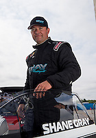 Sept. 1, 2013; Clermont, IN, USA: NHRA pro stock driver Shane Gray during qualifying for the US Nationals at Lucas Oil Raceway. Mandatory Credit: Mark J. Rebilas-
