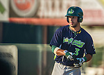 29 June 2014:  Vermont Lake Monsters infielder Joe Bennie in action against the Lowell Spinners at Centennial Field in Burlington, Vermont. The Lake Monsters fell to the Spinners 7-5 in NY Penn League action. Mandatory Credit: Ed Wolfstein Photo *** RAW Image File Available ****