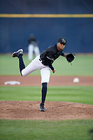 Quad Cities River Bandits relief pitcher Reggie Johnson (19) delivers a pitch during a game against the Lake County Captains on May 6, 2017 at Modern Woodmen Park in Davenport, Iowa.  Lake County defeated Quad Cities 13-3.  (Mike Janes/Four Seam Images)