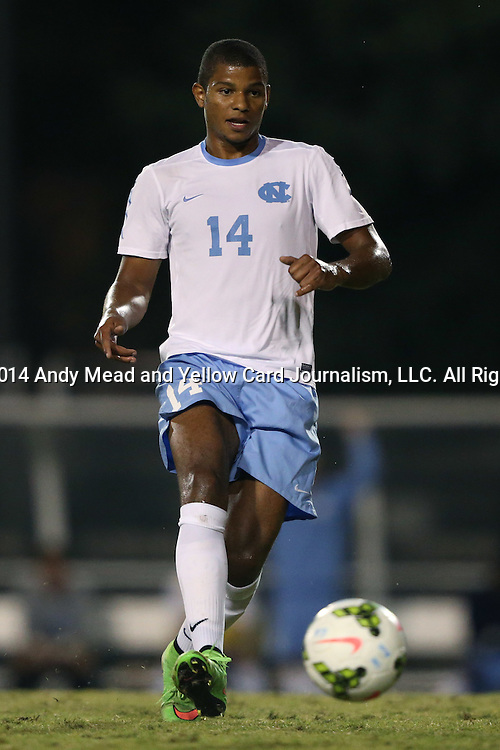 28 October 2014: North Carolina's Omar Holness (JAM). The University of North Carolina Tar Heels hosted the Georgia Southern University Eagles at Fetzer Field in Chapel Hill, NC in a 2014 NCAA Division I Men's Soccer match. North Carolina won the game 6-2.
