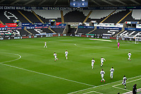 Swansea City player take to the pitch during the Sky Bet Championship match between Swansea City and Luton Town at the Liberty Stadium in Swansea, Wales, UK. Saturday 27 June 2020.
