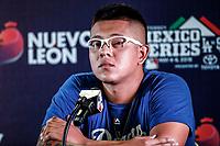 Julio Urias pitcher  mexicano de los Dodgers de LA en rueda de prensa, previo al partido de los Dodgers de Los Angeles contra Padres de San Diego, durante el primer juego de la serie las Ligas Mayores del Beisbol en Monterrey, Mexico el 4 de Mayo 2018....<br /> (Photo: /Luis Gutierrez)